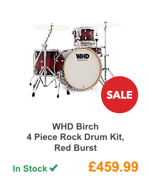 WHD Birch 4 Piece Rock Drum Kit, Red Burst.