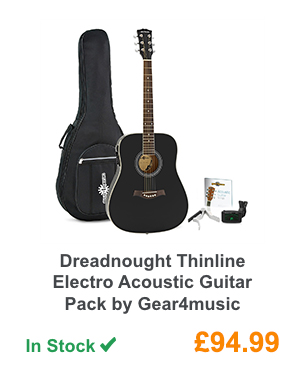 Dreadnought Thinline Electro Acoustic Guitar Pack by Gear4music.