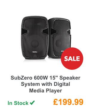SubZero 600W 15inch Speaker System with Digital Media Player.