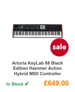 Arturia KeyLab 88 Black Edition Hammer Action Hybrid MIDI Controller.