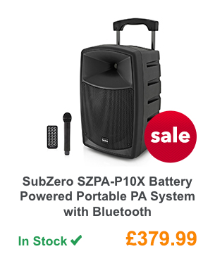 SubZero SZPA-P10X Battery Powered Portable PA System with Bluetooth.