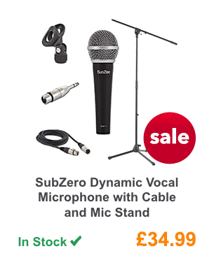 SubZero Dynamic Vocal Microphone with Cable and Mic Stand.