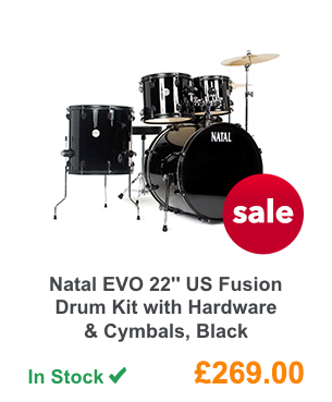 Natal EVO 22'' US Fusion Drum Kit with Hardware & Cymbals, Black.