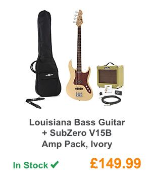 Louisiana Bass Guitar + SubZero V15B Amp Pack, Ivory.