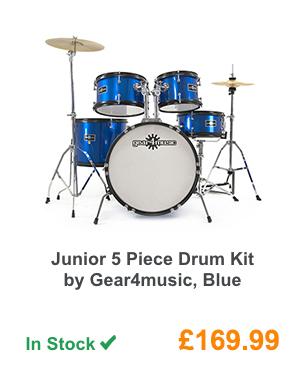 Junior 5 Piece Drum Kit by Gear4music, Blue.