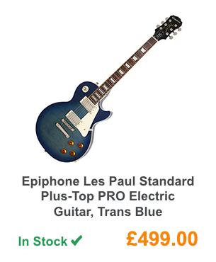 Epiphone Les Paul Standard Plus-Top PRO Electric Guitar, Trans Blue.