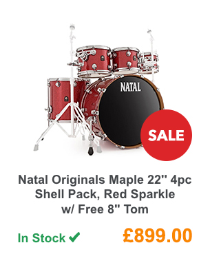 Natal Originals Maple 22inch 4pc Shell Pack, Red Sparkle w/ Free 8inch Tom.