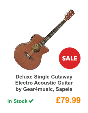Deluxe Single Cutaway Electro Acoustic Guitar by Gear4music, Sapele .