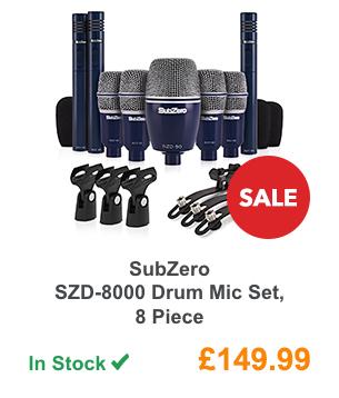 SubZero SZD-8000 Drum Mic Set, 8 Piece.