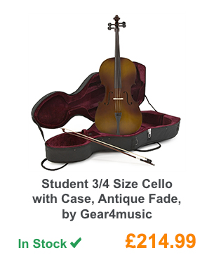 Student 3/4 Size Cello with Case, Antique Fade, by Gear4music.