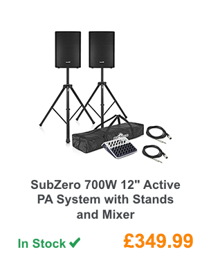 SubZero 700W 12'' Active PA System with Stands and Mixer.