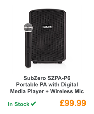 SubZero SZPA-P6 Portable PA with Digital Media Player + Wireless Mic.