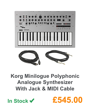 Korg Minilogue Polyphonic Analogue Synthesizer With Jack & MIDI Cable.
