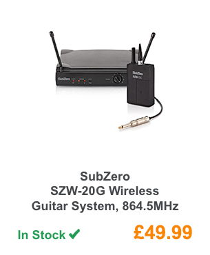 SubZero SZW-20G Wireless Guitar System, 864.5MHz.