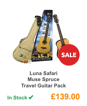 Luna Safari Muse Spruce Travel Guitar Pack.