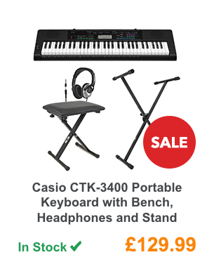 Casio CTK-3400 Portable Keyboard with Bench, Headphones and Stand.