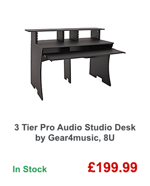 3 Tier Pro Audio Studio Desk by Gear4music, 8U.