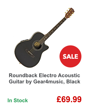 Roundback Electro Acoustic Guitar by Gear4music, Black.