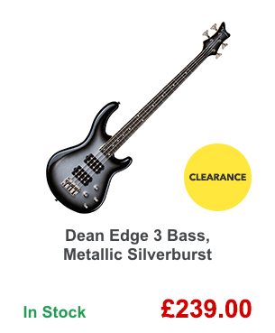 Dean Edge 3 Bass, Metallic Silverburst.